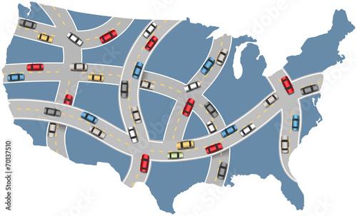 Cars travel USA highway transportation map\