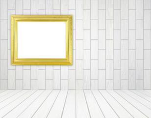 blank golden frame in room with white wood wall (block style) an