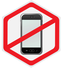 No, cell, phone, sign, illustration, hexagon