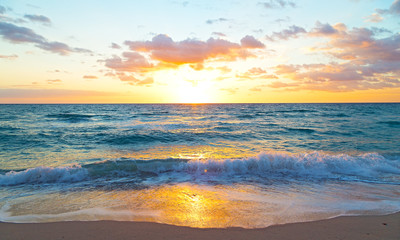 Sunrise over the ocean in Miami Beach, Florida.