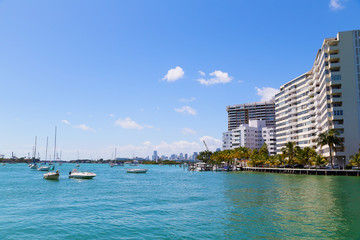 Miami city skyline from the waters of Miami Beach.