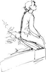 black and white sketch of a girl sitting on a park bench