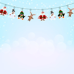 Christmas blue background with a garland of paper reindeer, peng