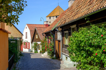 Medieval alley in the historic Hanse town Visby, Sweden.