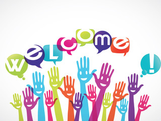 groupe mains souriantes : welcome