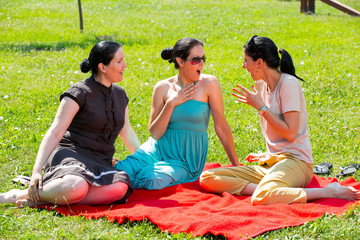 Picnic fun. Three girls having fun at a picnic.