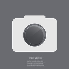 Vector modern camera icon with circle glass