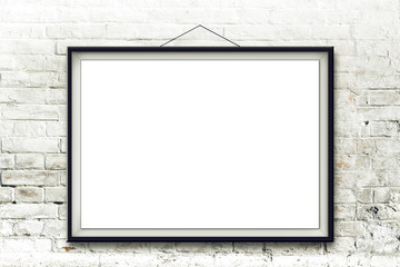 Blank horizontal painting in black frame
