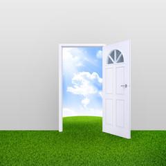 Open door with nature landscape