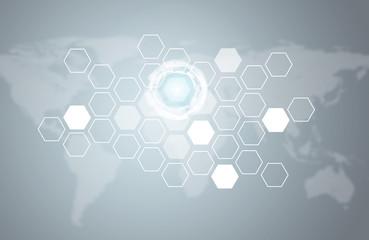 Transparent hexagons, glow circles and world map