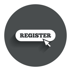Register with cursor pointer icon. Membership.