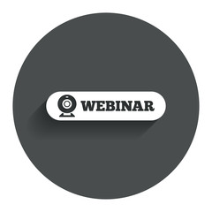 Webinar web camera sign icon. Online Web study.