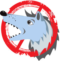 Angry dog.Prohibition sign.Danger icon.Stamp.Cracks.Scratches.Vi