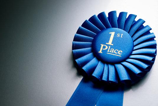 Blue first place winner rosette