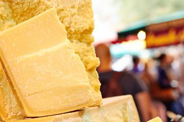 Parmesan cheese at the market