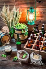 Cellar full of ingredients for homemade beer
