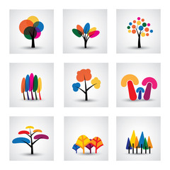 illustration of different kinds of vector tree icons