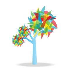 Tree with pinwheel. vector Illustration