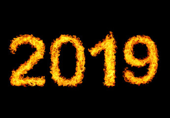 2019 year text made of flames