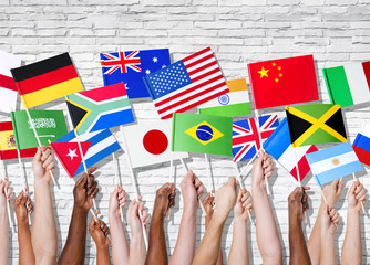 Different Countries United With Their Flags Raised