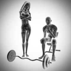 human radiography in gym room