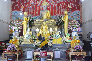 Buddha and Buddhism In temples, Ayutthaya, Thailand.