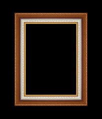 Picture frame carved wood frame Isolated on black background