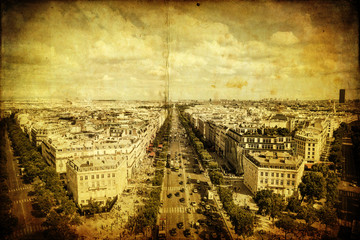 Fotomurales - Luftansicht der Champs-Elysees in Paris im Antiklook