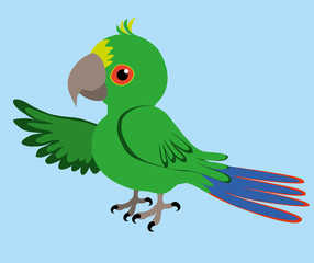 An Illustration of a green parrot
