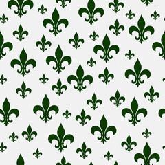 Green Fleur-de-lis Pattern Repeat Background