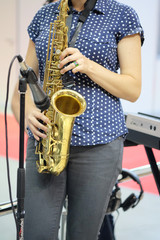 woman with a saxophone