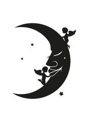 Mond Gesicht mit Engel