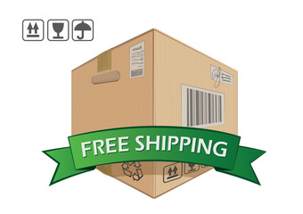 Free shipping, vector box