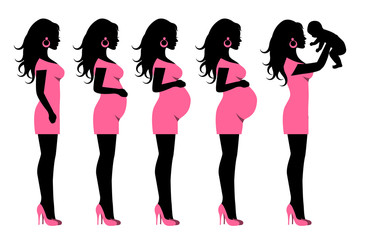 silhouettes in profile and a pregnant woman who has