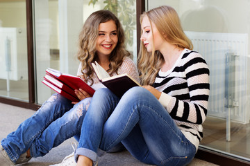 Two teenager girls with books