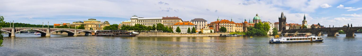 Aluminium Prints Delhi Panoramic view on Vltava in Prague, Czech Repubic