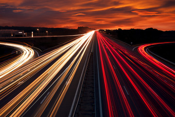 Aluminium Prints Night highway Speed Traffic - light trails on motorway highway at night