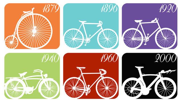 Ilustração relativa à evolução da bicicleta ao longo do tempo - bicicleta vintage e moderna