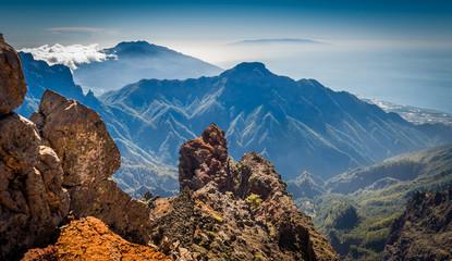 Volcanic mountains landscape.