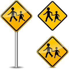 Vector pedestrians signs