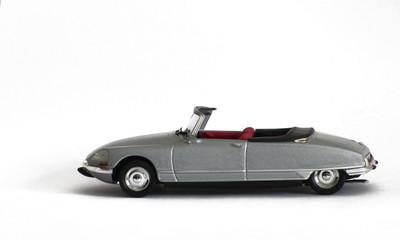 Metallic Silver Convertible Car on White Background