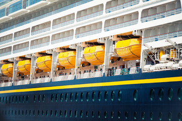 Detail of security boats of a cruise ship. Close up