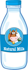 Milk Bottle With Cartoon Label And Text