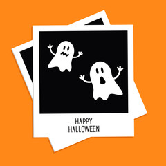 Instant photo with Two funny ghosts.  Halloween card. Flat