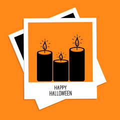 Instant photo with candle set. Halloween card. Flat