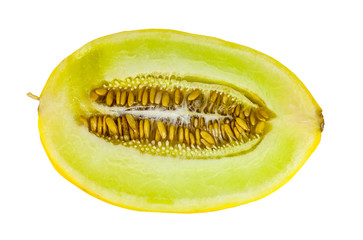 Sweet yellow melon on white background