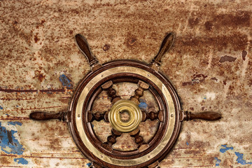 Vintage ship steering wheel rudder