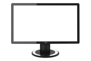 Computing monitor, white blank screen isolated