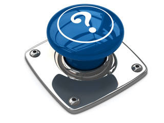 Blue question button concept.