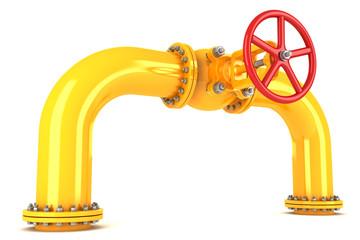 Valve on yellow pipeline